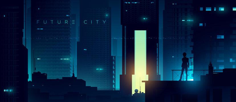 Futuristic cyberpunk illustration. Neon city background. Woman on the background of the shining metropolis