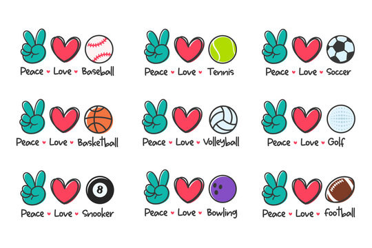 peace love sport. Sports ball design for the lovers of sports for health.