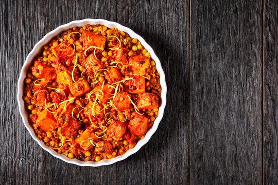 Pumpkin lentil chickpea dal in a dish