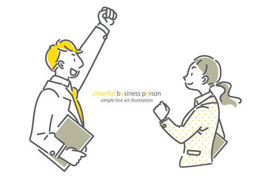 頼れる同僚 ビジネスシーン シンプルでお洒落な線画イラスト