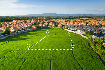 Fototapeta Land plot in aerial view. Identify registration symbol of vacant area for map. That property, real estate for business of home, house or residential i.e. construction, development, sale, rent, buy. obraz