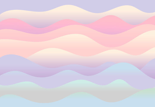 Vector abstract horizontal background. Gradient waves of different sizes. Curved lines or stripes of papier mache in delicate shades, smooth curves.