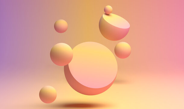 3D rendering of pastel color flying spheres with flat plane for text ot product advertising