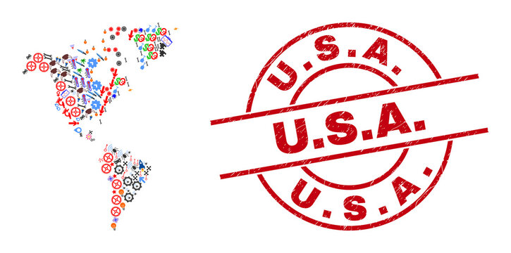 South and North America map collage and distress U.S.A. red circle stamp. U.S.A. stamp uses vector lines and arcs. South and North America map mosaic contains helmets, homes, showers, bugs, hands,
