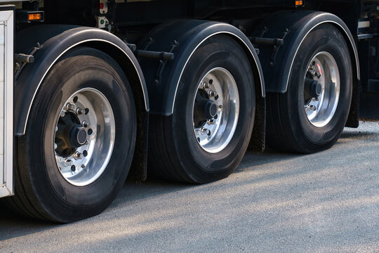 View on truck wheels and tires on truck chassis. Truck wheel rim.