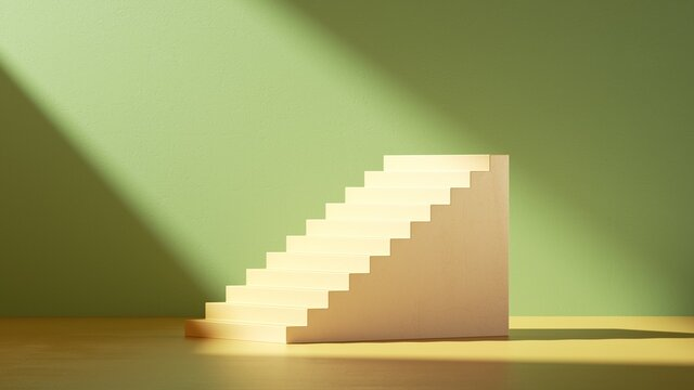 3d render. Simple stairs and steps in empty room with green wall illuminated with bright sunlight. Minimal scene for product presentation