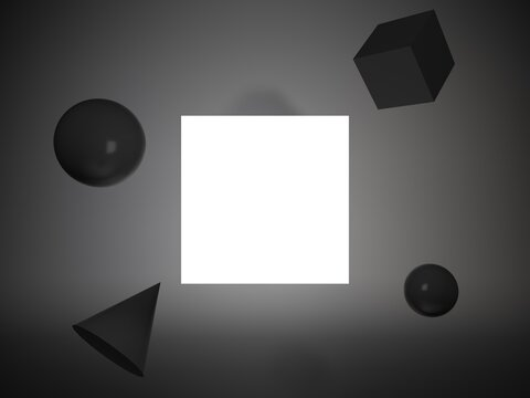 White invitational card mockup at black back ground with spheres and polygonal objects. 4x3 ratio, 6000*4500 size.