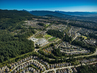 Stock aerial photo of Heritage Mountain Port Moody BC, Canada - fototapety na wymiar