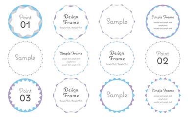 Obraz 丸型・円形のシンプルなフレームセット ブルー・パープル - fototapety do salonu