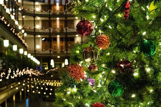 Lighted indoor Christmas tree