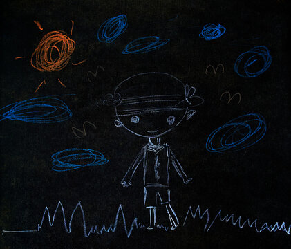 Children's hand-drawn on the chalkboard