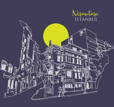 Drawing sketch illustration of Nisantasi, Istanbul