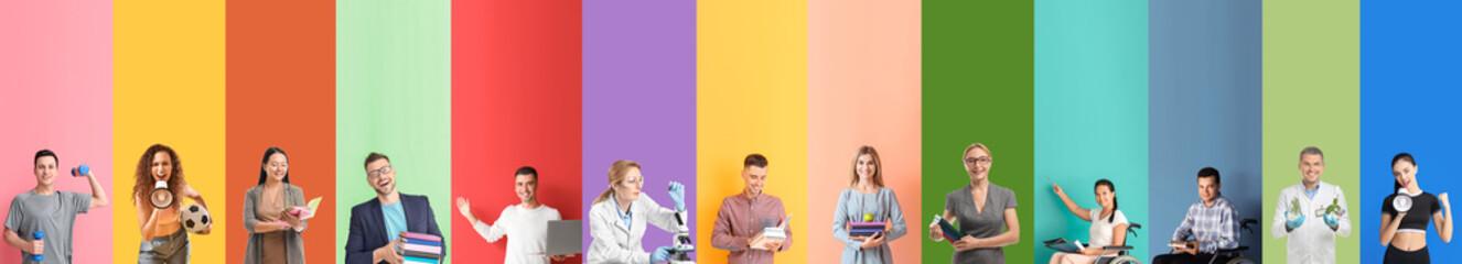 Fototapeta Set of teachers on color background obraz