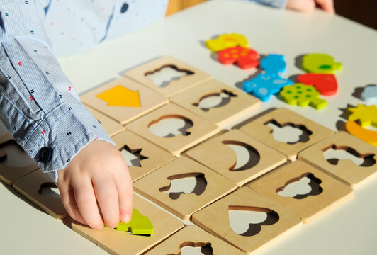Sensory wooden blocks. Educational toys, Cognitive skills, Learn through play concept.