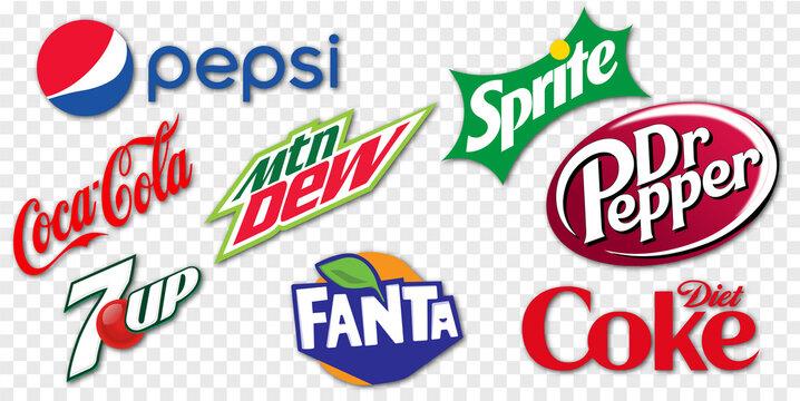 Vinnytsia, Ukraine - May 6, 2021: Set of 8 Soft Drinks: Pepsi, Coca-Cola, Sprite, Fanta, Dr Pepper, Diet Coke, Mountain Dew, 7UP. Vector logo isolated on transparent background