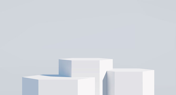 3D realistic podium for your product showcase. Blank Vector 3d illustration.