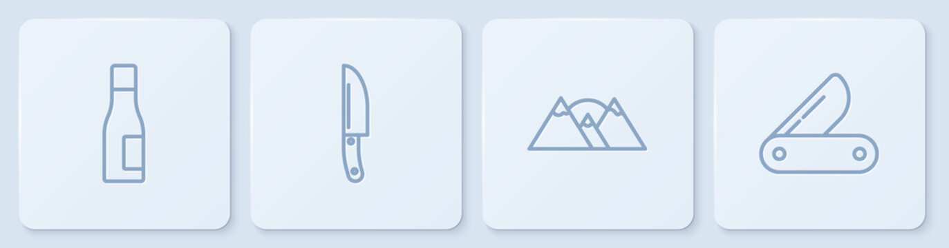 Set line Bottle of water, Mountains, Knife and Swiss army knife. White square button. Vector