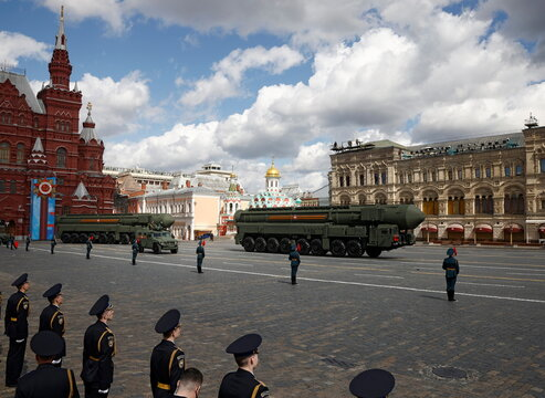 Russian Yars intercontinental ballistic missile systems drive during a rehearsal for the Victory Day military parade in Moscow