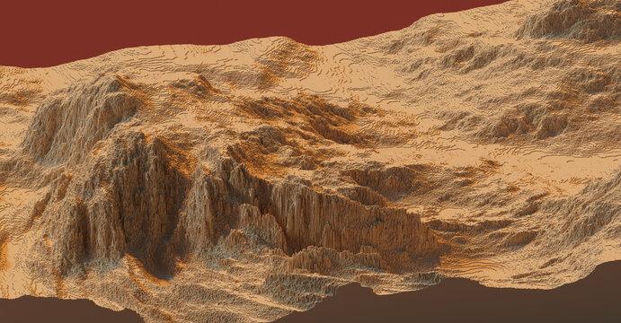 voxels lanscape 3D computer generated aerial landscape