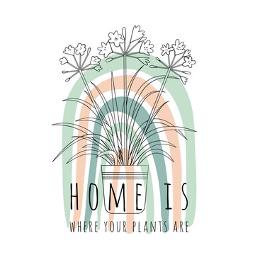 Minimalist boho illustration of quote Home is where your plants are with black line art potted house plant agapanthus and abstract rainbow background. Stock vector.