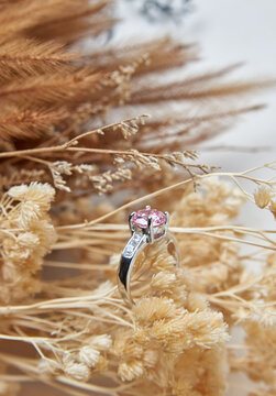 The engagement ring on the dry flower