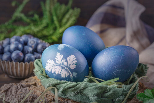 Natural colored Easter eggs.