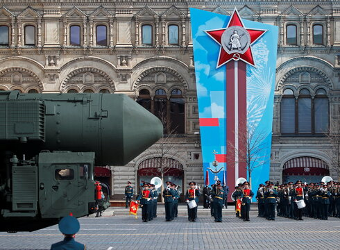 A Russian Yars intercontinental ballistic missile system drives during a rehearsal for the Victory Day military parade in Moscow