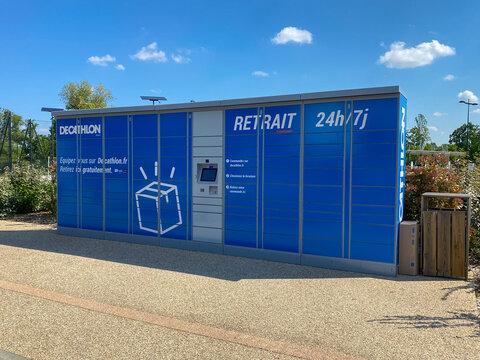 Pickup locker of a Decathlon store in Rives d'Arcins commercial center in Begles, France