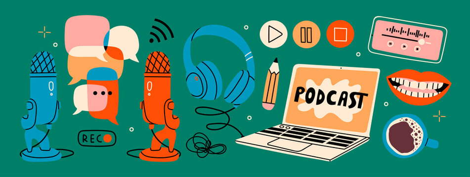 Headphones, microphone, laptop, equalizer, speech bubbles. Podcast recording and listening, broadcasting, online radio, audio streaming service Concept. Hand drawn Vector set. Isolated elements