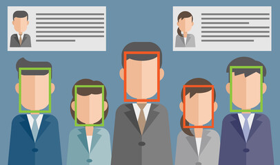 Obraz 顔認証による個人情報漏洩のリスク - fototapety do salonu