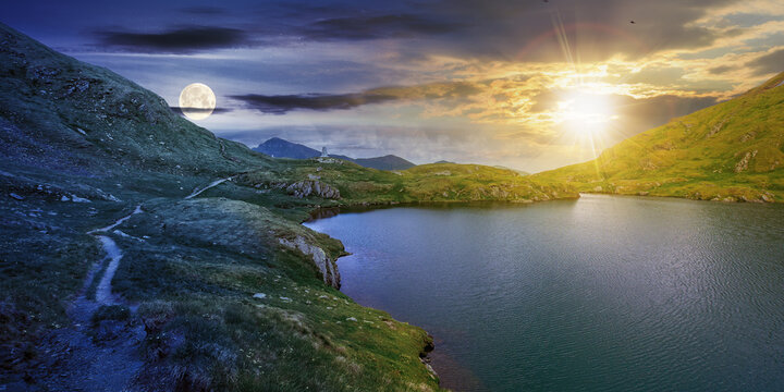 day and night time change concept above summer landscape with lake on high altitude. beautiful scenery of fagaras mountain ridge. open view in to the distant peak beneath a clouds with sun and moon