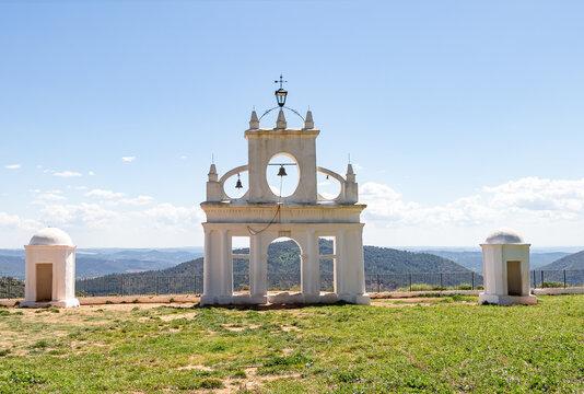 White arch of Steeple and sentry boxes in the interpretation center of the peña de arias montano in Alajar, Huelva,Spain
