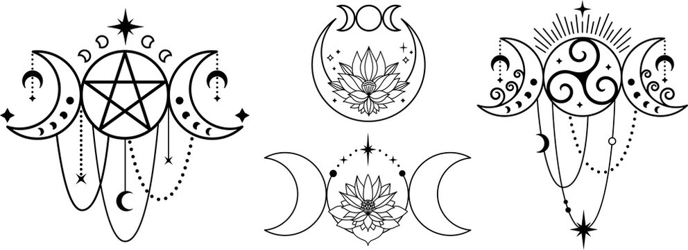 Triple moon with lotus and moon phases. Witchy tatoo logo design set. Mystic boho logo, design elements with moon, stars