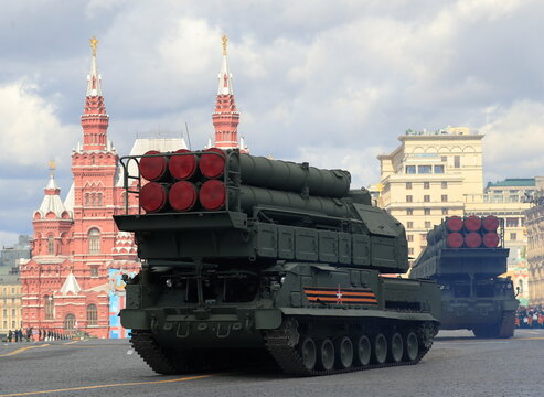Russian Buk-M3 missile systems drive during a rehearsal for the Victory Day military parade in Moscow