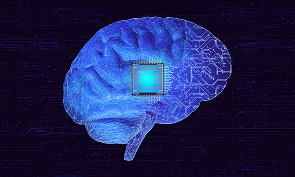Abstract concept image related to the use of brain-computer interface to connect human brains with external smart devices via implantable brain chips. 3D illustration