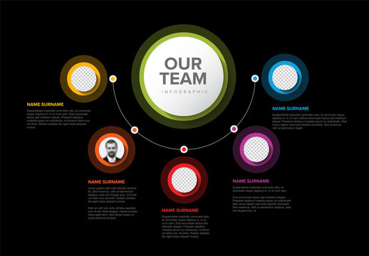 Our company team presentation template with circle profiles