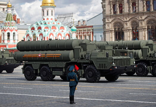 Russian S-400 anti-aircraft missile systems drive during a rehearsal for the Victory Day military parade in Moscow