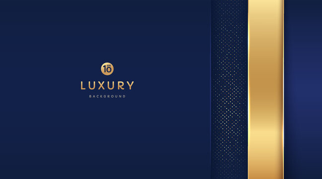 Dark blue and gold vertical rectangle shapes on background with glowing golden striped lines and glitter. Luxury and elegant. Abstract template design. Design for presentation, banner, cover.