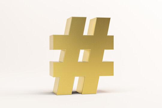 3D illustration golden hashtag symbol isolated on white background. 3D rendering for advertising.
