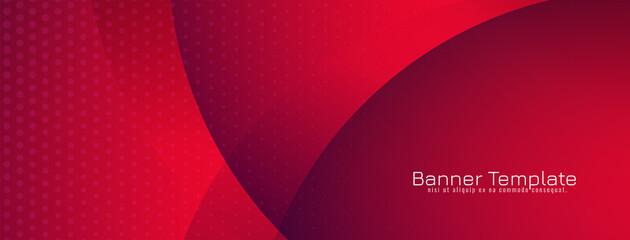Fototapeta Beautiful red color wave style banner design obraz