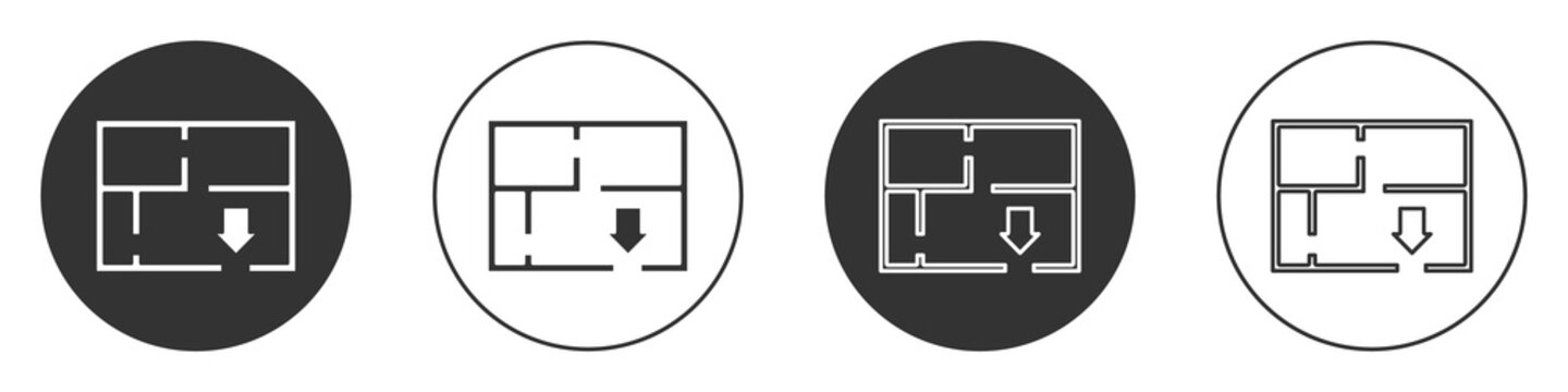 Black Evacuation plan icon isolated on white background. Fire escape plan. Circle button. Vector