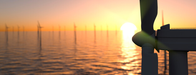 Fototapeta Large off shore wind farm at sunset panoramic 3d render obraz