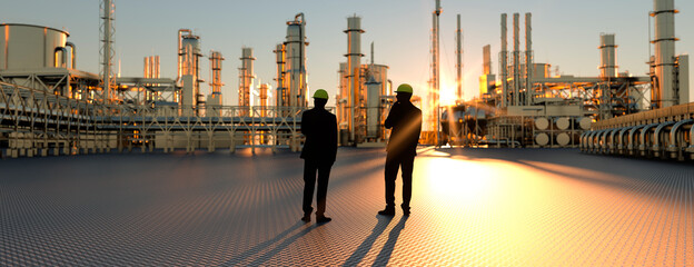 Fototapeta Technicians supervisor looking out onto an oil refinery at sunset with pipes and steel 3d render obraz