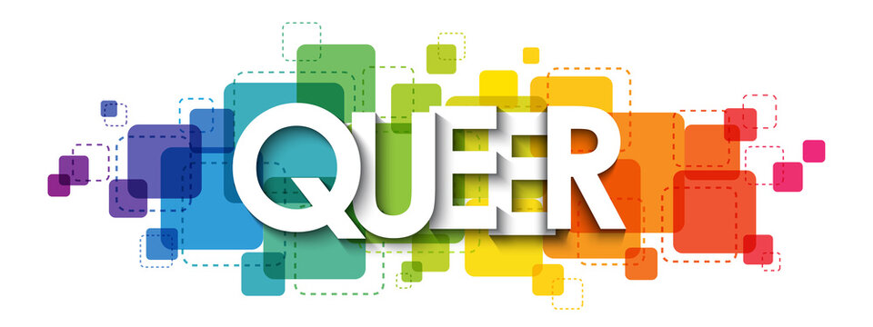 QUEER colorful rainbow gradient vector typography banner on white background