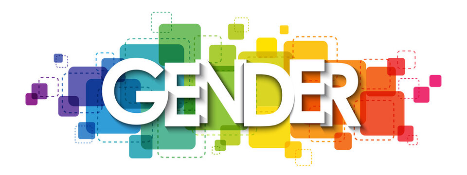 GENDER colorful rainbow gradient vector typography banner on white background
