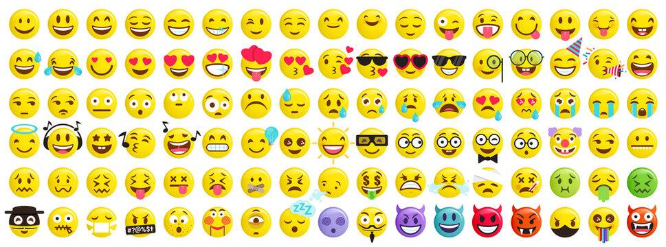 Emoticons - Emojis Complete Set, 100% Editable Vector
