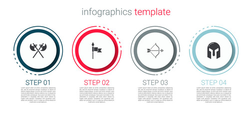 Fototapeta Set Crossed medieval axes, Medieval spear, bow and arrow and iron helmet. Business infographic template. Vector