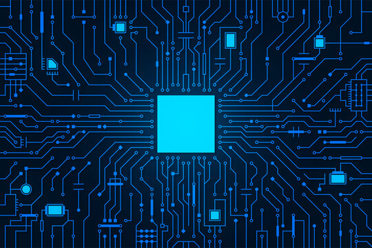 Circuit board background. CPU microchip, abstract conductor scheme and other circuit components. Computer motherboard, digital abstract background. Circuit board abstract technology background. Vector