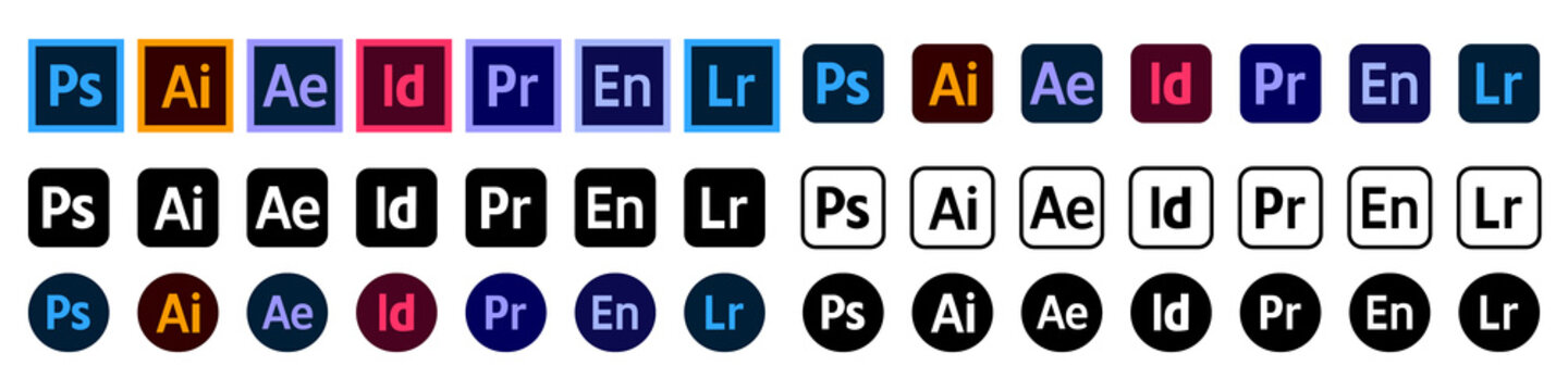 Adobe Products Icon Set: Illustrator, Photoshop, InDesign, Premiere Pro, After Effects, Acrobat DC, Lightroom, Dreamweaver ... Vector icons for your website design. Stock illustration EPS 10