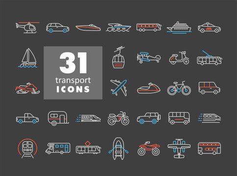 Transportation vector icon set on dark background